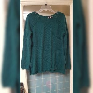 Teal Sweater W/ Button Back